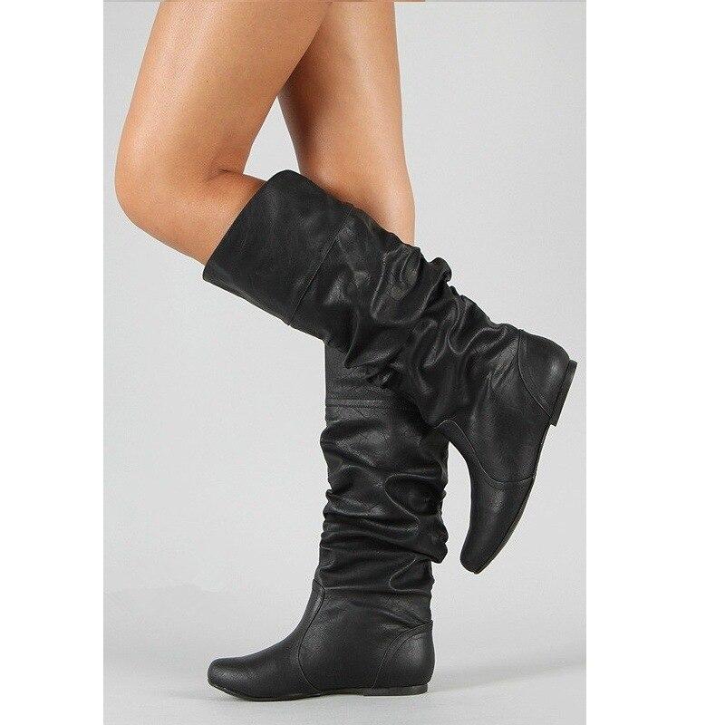 Slip Femelle mollet Mi gris on Chaud Rond Casual Plat Mode Chaussures marron Cuir Bottes Bout khaki D'hiver Femmes En Mujer W433 Pu Neige Noir q46xzwfA