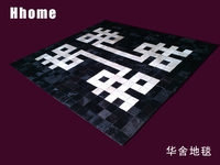 Free Shipping 1 Piece Via DHL 100 Natural Cowhide Leather Black Red White Rug