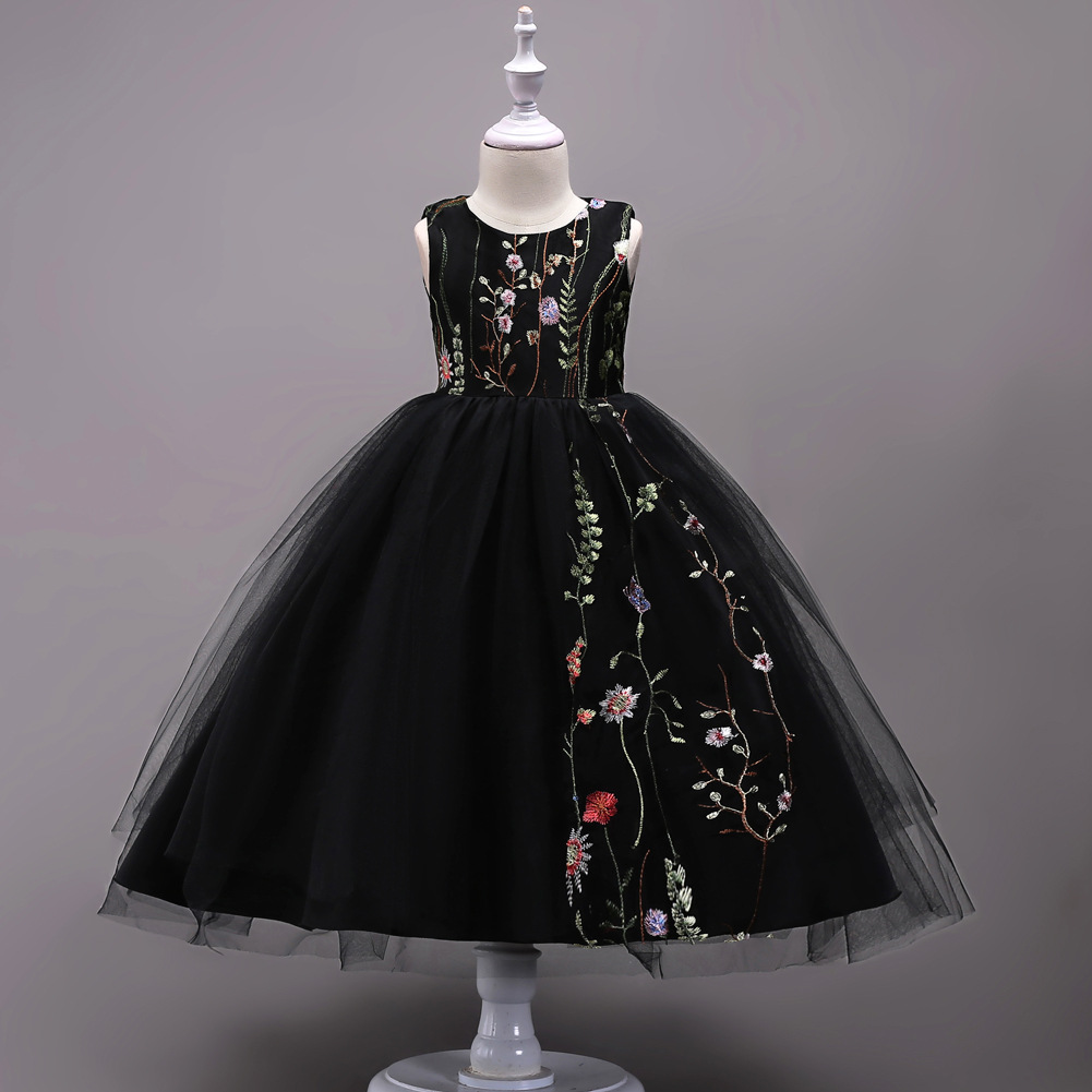 Embroidered Flower Girl Dress Children Black Mesh Trailing Butterfly Girls Wedding Dress Kids Ball Gown Princess Bow Party Dress