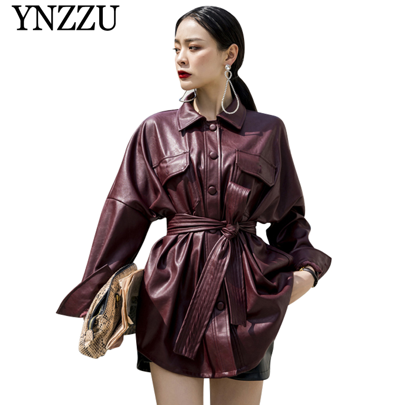 YNZZU 2019 New Autumn Women Loose Soft   Leather   Jackets Buttons with belt Win red PU Outerwear Chic Motorcycle Biker coats YO853