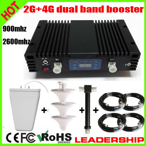 Work 900m2 27dbm 75db 2G+4G GSM 900Mhz LTE 2600Mhz Dual Band 1Watt 3G Cell/mobile Phone Repeater Booster Detector Repetidor