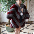 BFFUR Luxury 2016 Fashion Winter Thick Women Fur Vest Real Fox Fur Jacket Fox Fur Coat Jacket Female Fur Coats Big Size BF-C0165
