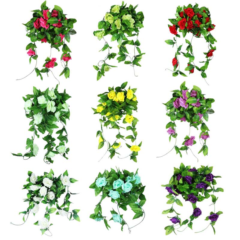 10pcs/lot 2.5M Artificial Fake Silk Roses Flowers Ivy Vine with Green Leaves For Home Wedding Party Hanging Garland Decor