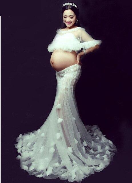 0f130920169ac جديدة الكورية الأمومة الملابس أزياء الصورة استوديو الصور الفوتوغرافي الحجاب  الأم الحوامل شكل ذيل