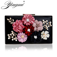 YINGMI Flower Crystal Evening Clutch Bag Flap Diamonds Applicant Chain Shoulder Handbags Bag Female Beaded Party