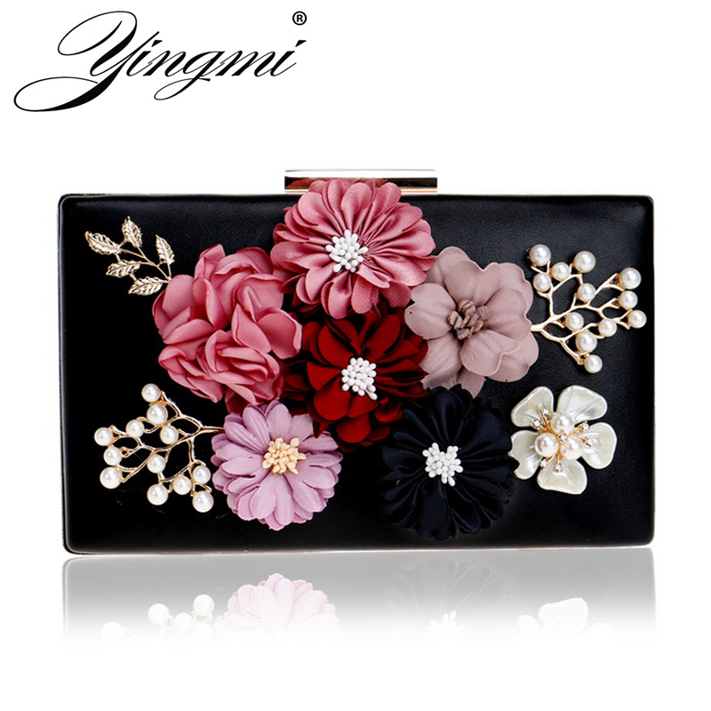 YINGMI Flower Crystal Evening Clutch Bag Flap Diamonds Applicant Chain Shoulder Handbags Bag Female Beaded Party Wedding Purse diamonds small clutch purse crystal beaded handbags chain shoulder evening finger ring bags for wedding party bag red gold blue