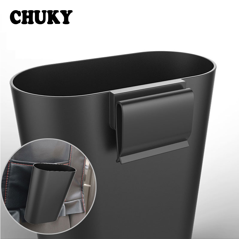 CHUKY Car Trash Bin Portable Vehicle Rubbish Can Storage Bucket Accessories For Skoda Rapid Fabia Superb VW Passat B6 T5 Renault