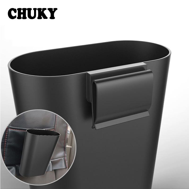Cubo de basura para coche CHUKY cubo de basura portátil para vehículo Cubo de almacenamiento accesorios para Skoda Fabia Rapid superb VW Passat B6 T5 Renault