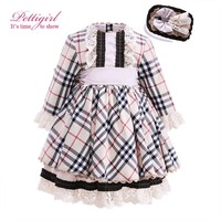 Pettigirl Classic Plaid Girl Dress For Autumn Kids Princess Dress With Handmade Lace Headwear Nontique Kids