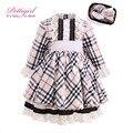 Pettigirl clássico xadrez vestido da menina para o outono crianças vestido de princesa com rendas artesanais headwear nontique kids wear g-dmgd908-917