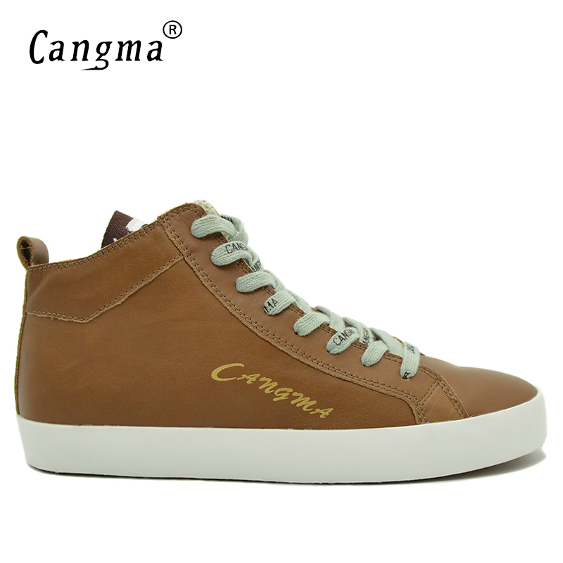 CANGMA Famous Comfortable Footwear Genuine Leather Man's Handmade Brown Platform Sneakers Men Flats Shoes Mid Male Casual Shoes cangma original newest woman s shoes mid fashion autumn brown genuine leather sneakers women deluxe casual shoes lady flats