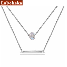 Labekaka Crystals from Swarovski Double Chain Necklaces for Women Fashion Elements Pendants Charms Jewelry(China)