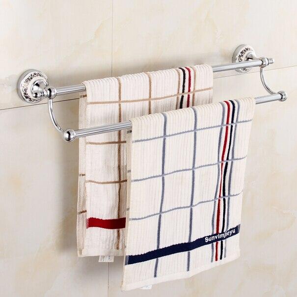 ФОТО Stainless Steel 304 double towel bar bathroom towel rack with porcelain chorme towel holder wall double towel holder