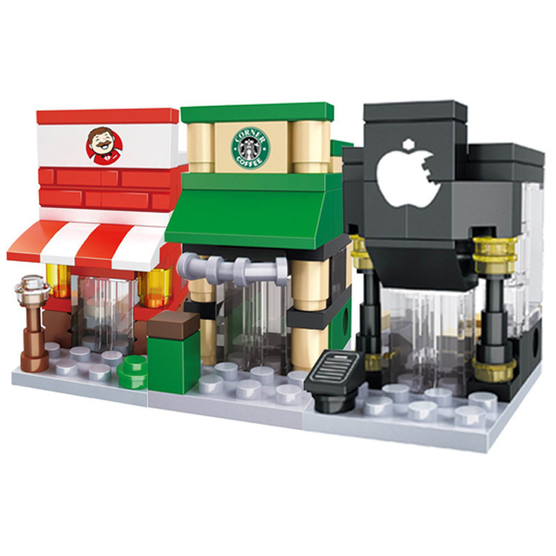 Mini Street City 3D Model Blocks Retail Store Shop McDonald Cafe Apple Architecture Classic Building Toy Compatible Legoedly