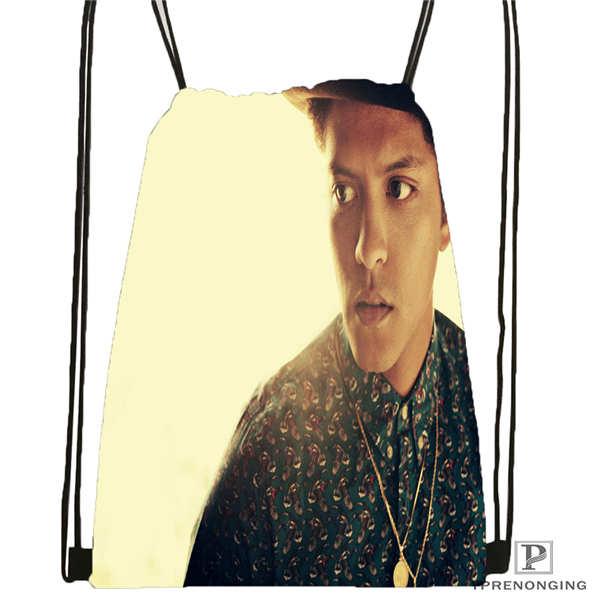 Custom Bruno Mars BW HD-Drawstring Backpack Bag Cute Daypack Kids Satchel (Black Back) 31x40cm#180611-01-12