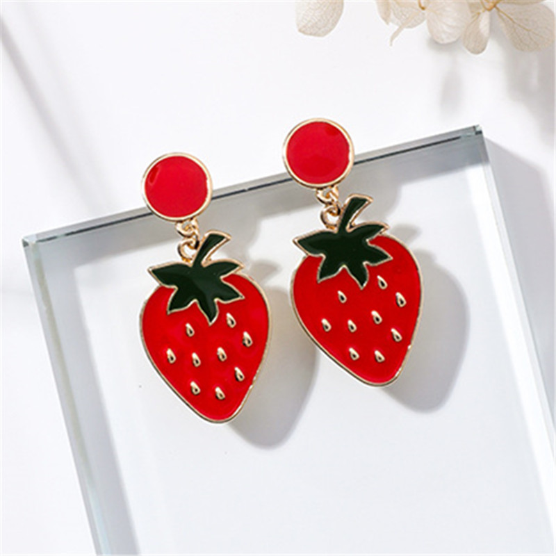 Red Cherry, Strawberry, Cactus Stud Earrings 1