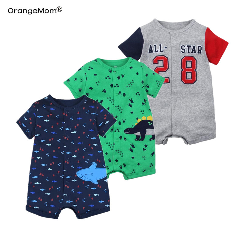 2019 official store Summer boys baby clothing Short Sleeved Jumpsuit Newborn Romper Baby Boy Clothes infant  0-24 Baby Rompers