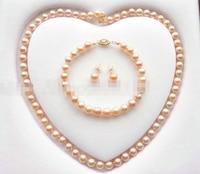 07847 Grade Akoya Pearl Jewelry Set Necklace Bracelet Earring (A0423)