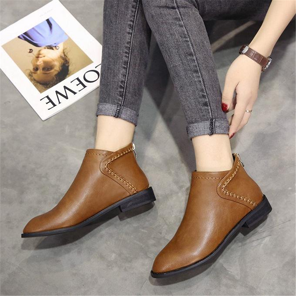 Image 2 - Spring and autumn ladies Martin boots British style low heel and ankle boots 2018 new retro Korean short bootsAnkle Boots   -