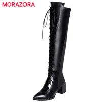 MORAZORA Stretch Long Boots Women High Heels Boots Autumn Big Size 34 41 Knee High Boots