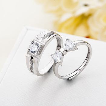 Sterling Silver Cubic Zirconia Couples Ring Set