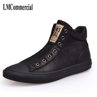 Autumn Winter British Retro Men High Shoes Casual Boots Leather With Velvet Warm Winter New Korean
