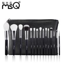 MSQ 15pcs Pro Make Up Brushes Set Powder Blusher Eyeshadow Blending Makeup High Quality PU Leather Case