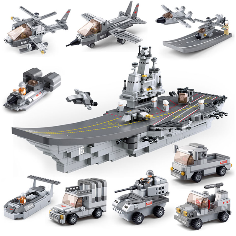 1001PCS Chinese Military 9 in 1 Building Blocks Compatible with lepin Aircraft Carrier Building Blocks  Educational Toys for Kid aircraft carrier ship military army model building blocks compatible with legoelie playmobil educational toys for children b0388