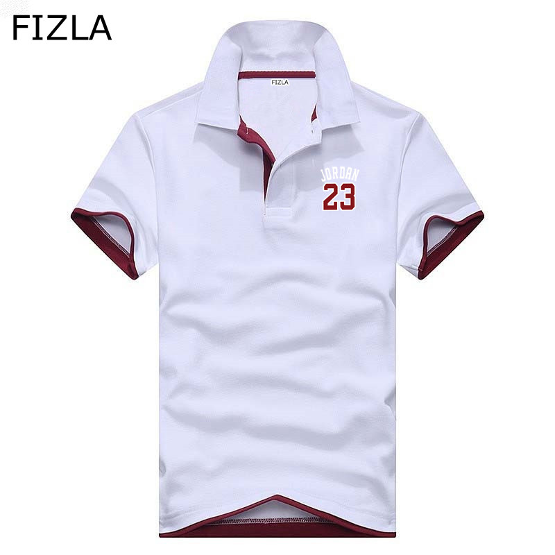 FIZLA Brand   Polos   Mens Printed Jordan 23   POLO   Shirts Cotton Short Sleeve Casual Stand Collar Male clothing   Polo   Shirt XS-3XL