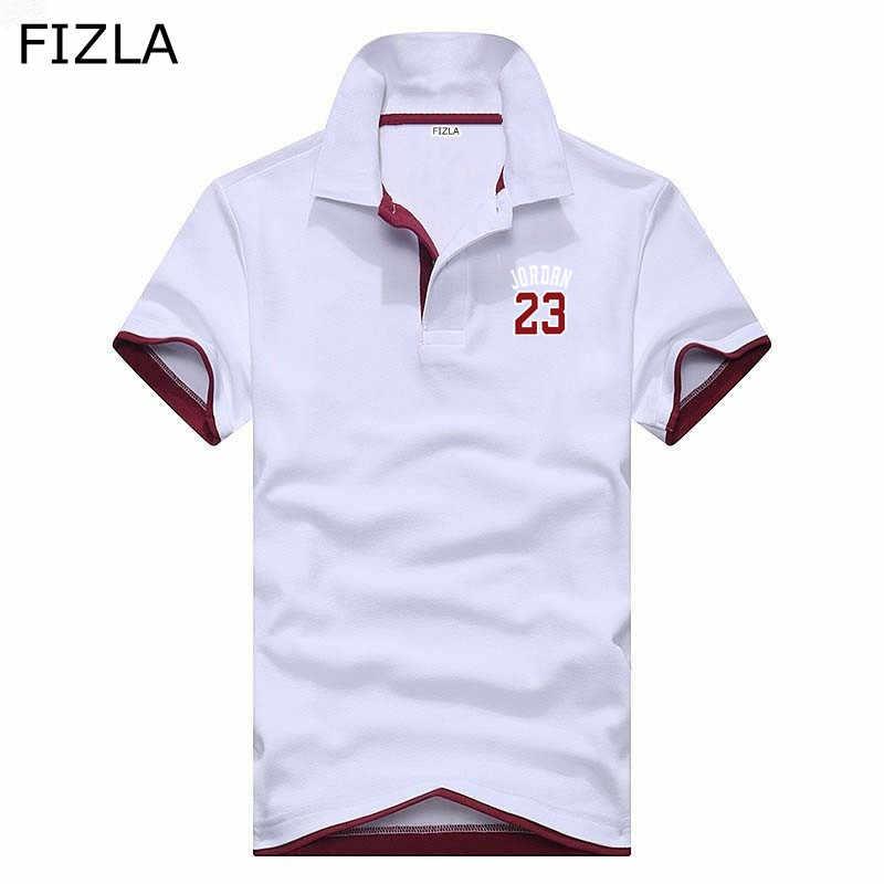 b3339ffc6559 FIZLA бренд поло мужские с принтом Jordan 23 рубашки поло хлопок короткий  рукав Повседневное воротник мужской
