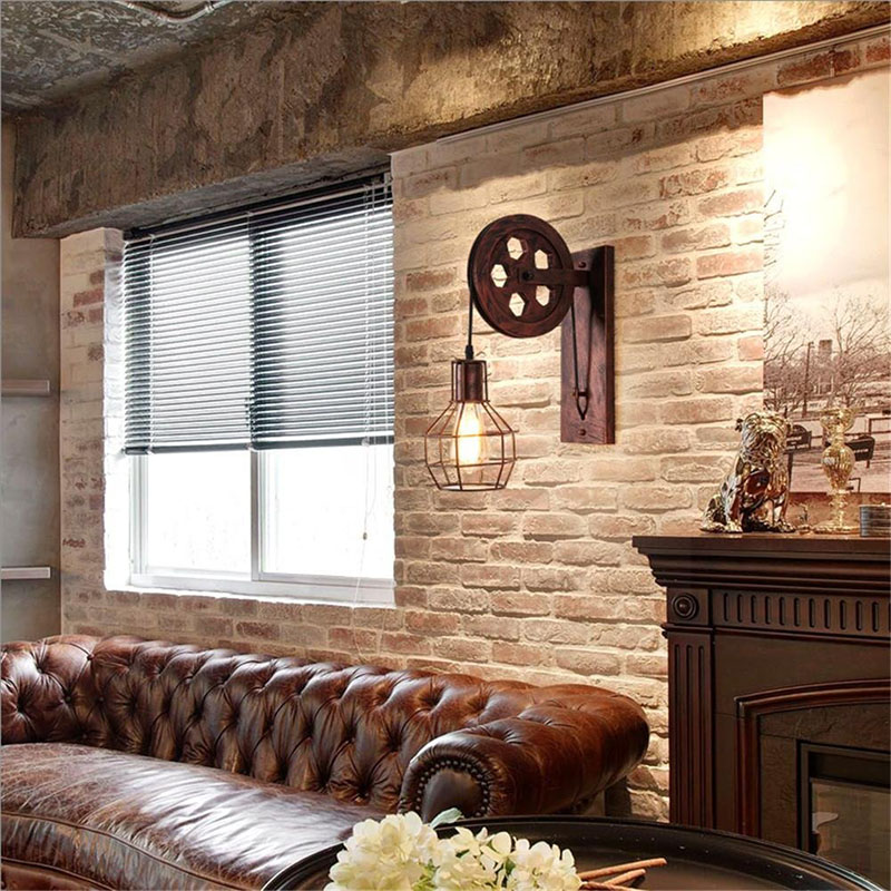 Image 4 - Vintage Home Sconce Light Loft Retro Wall Lamp Lifting Pulley Wall Light Industrial Style Iron Lanterns Suspension Pendant LightWall Lamps   -