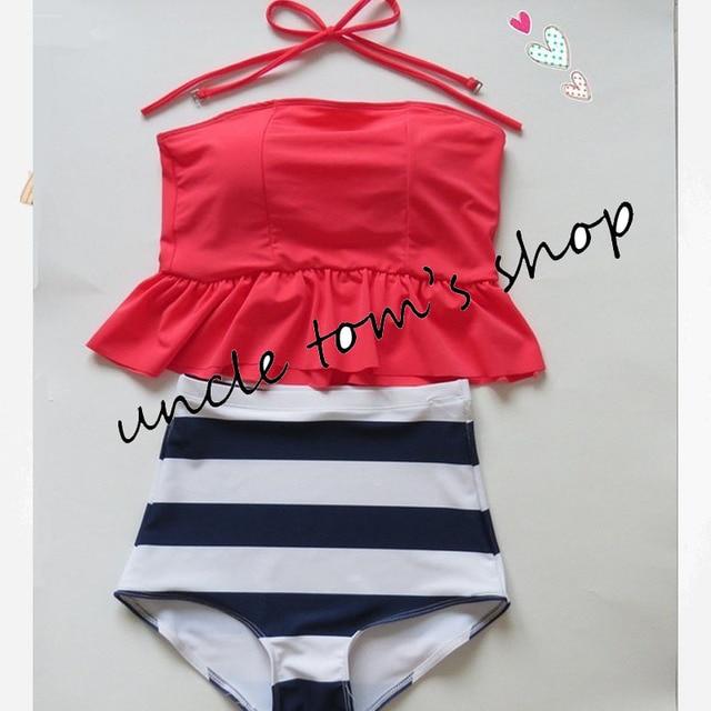 women's HIGH WAIST Swimsuits Vintage bathing suit Peplum Tankini bandeau crop top swimwear crop Halter Push Up  moda praia