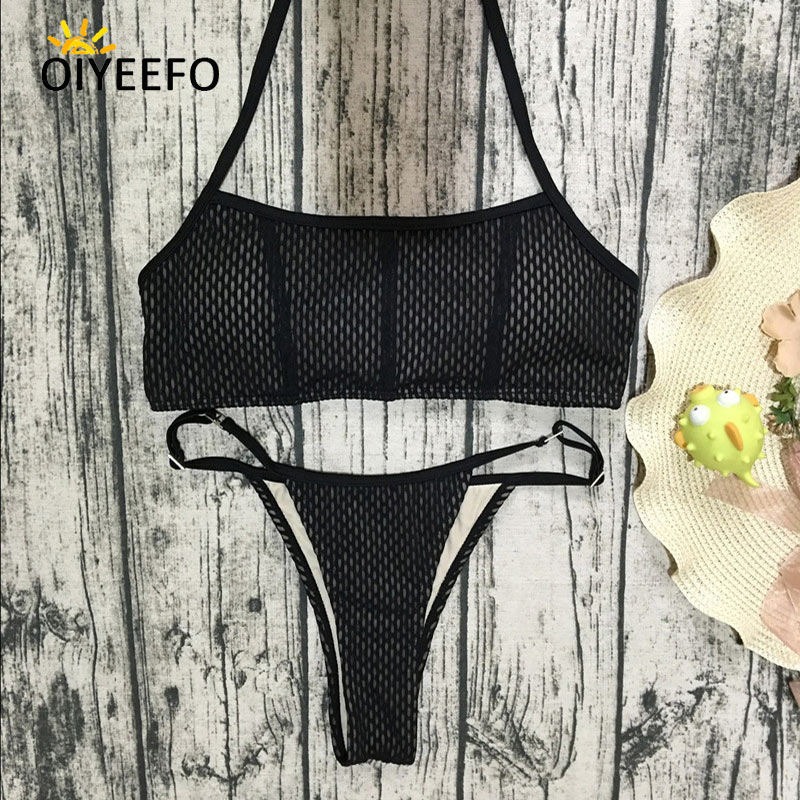 f740bd2f76163 Oiyeefo Sexy Black Mesh Bikini Brazilian Biquine Thong Set G string  Swimsuit Woman Bathing Suits Swimwear Female Women Beach May-in Bikinis Set  from Sports ...