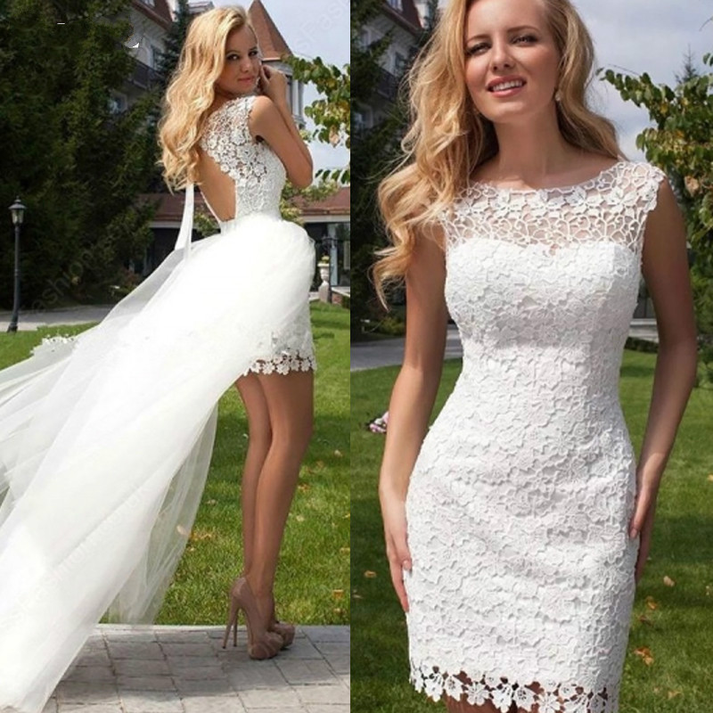 Short Lace Wedding Reception Dresses 2019 With Attchable Skirt  Summer Bridal Dresses