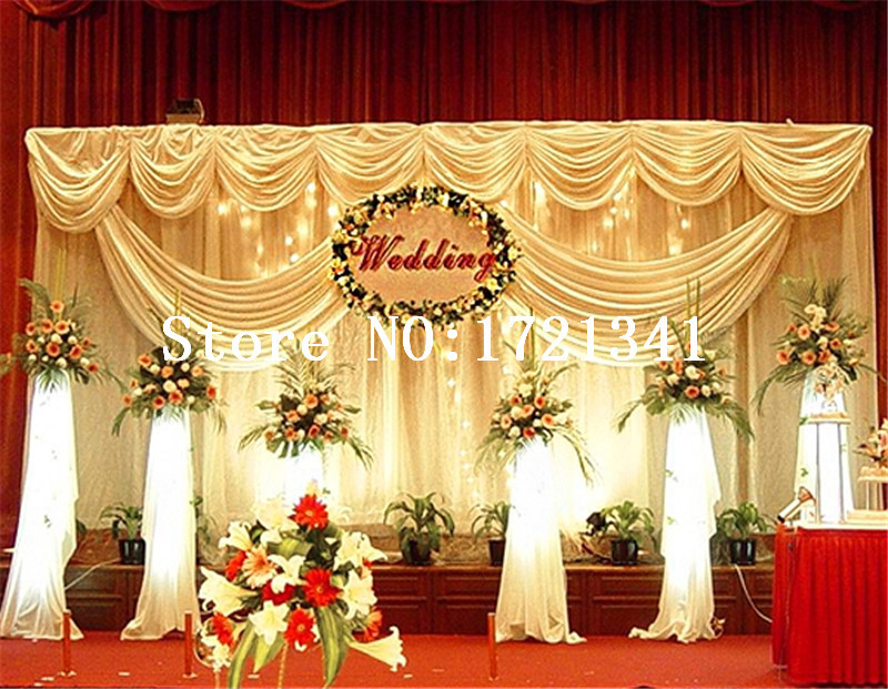 Decoration wedding backdrop ice silk wedding stage for Background decoration for indian wedding