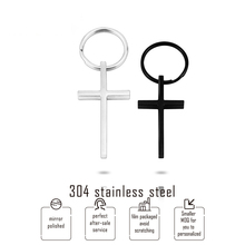 Keychain 304 Stainless Steel Cross Pendant Black Color Mirror Polish Key Rings/keyholder/key Fob/key Accessories Wholesale 10pcs