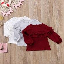 Новинка года; хлопковая блузка с длинными рукавами и рюшами для новорожденных девочек зимняя теплая одежда для маленьких девочек