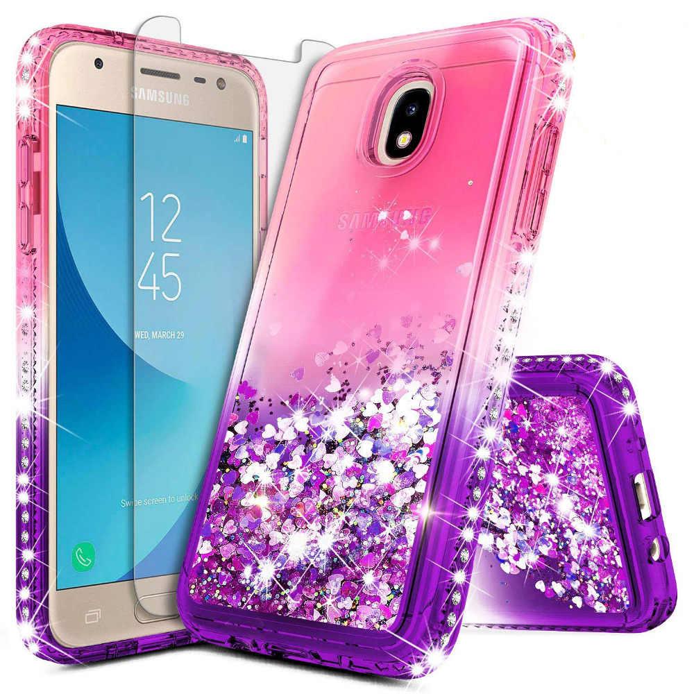 reputable site c9714 39e0c Diamond Glitter Case For Samsung Galaxy J7 2018 J7 Star Coque For Samsung  J7 Refine J7 2018 Liquid Quicksand Flowing Cover
