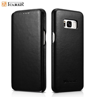 For Samsung Galaxy S8 Cases ICARER Curved Edge Luxury Series Genuine Leather Flip Casing For Samsung