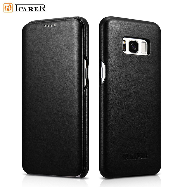 For Samsung Galaxy S8 Cases ICARER Curved Edge Luxury Series Genuine Leather Flip Casing for Samsung Galaxy S8 SM-G950 -5.8 inch