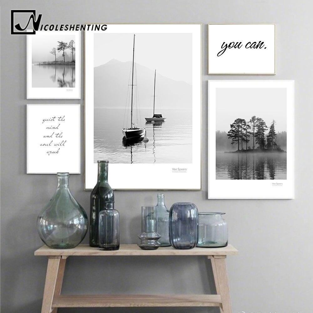 Scandinavian แนวนอนโปสเตอร์สไตล์นอร์ดิก Lake เรือป่าธรรมชาติ Wall พิมพ์ภาพพิมพ์ภาพตกแต่งตกแต่งบ้าน