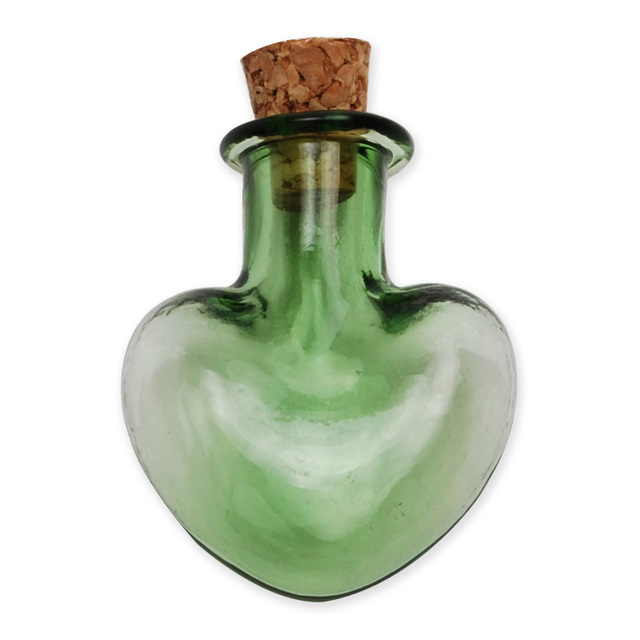 Wholesale Green Heart Shaped Glass Wishing Bottle With Cork For