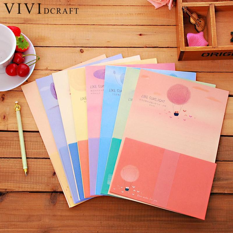 Color Random 6 Sheets Writing Paper + 3sheets Envelope Stationery Love Letter Invitation Card Gift Letter Paper Random Design