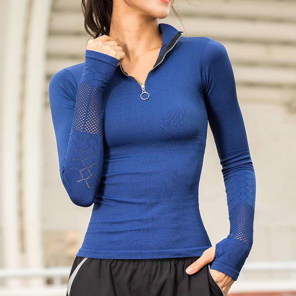 Cute Women Long Sleeve Running Yoga Sports Tops Mesh Workout Top With Thumb Holes White T-Shirt Fitness Running Sport T-Shirts 1