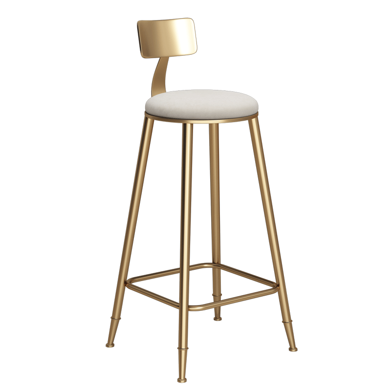 Nordic Style Iron Art Bar Chair Creative Multi-function Commercial High Stool With Backrest And Footrest Safe Coffee Shop Chair