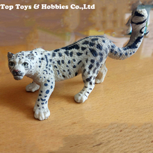 11 cm Wild animal series Snow leopard model Decoration Crafts collection Figure toys with box