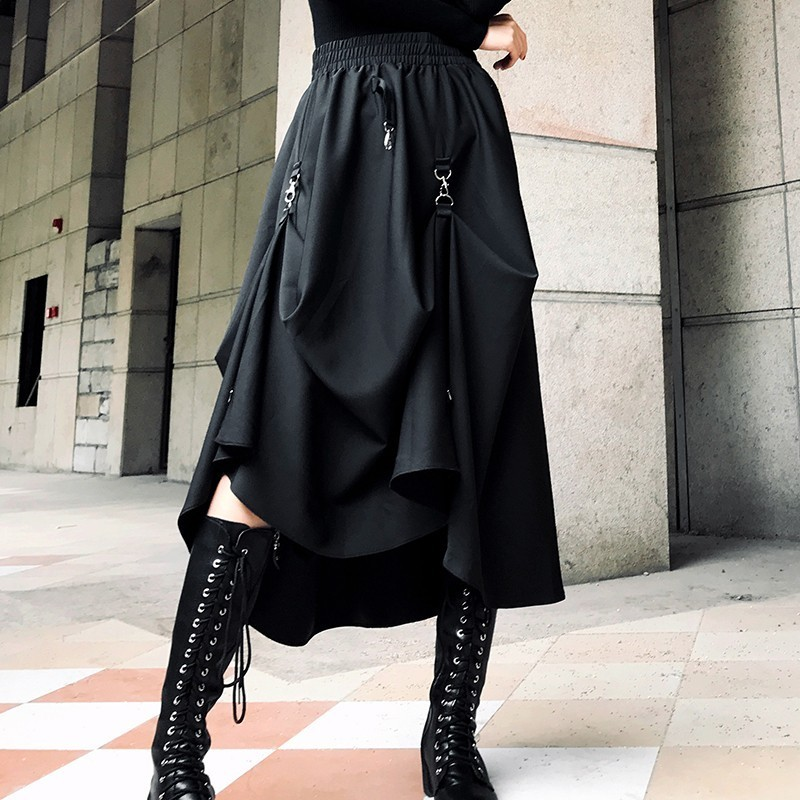LANMREM 2020 Spring Fashion New Irregular Ring Cross Two Wear Black Women's Skirt Elastic High Waist All-match Bottoms YF970