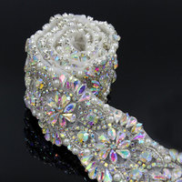 1 Yard Silver AB Crystal Flower Bridal Sash Wedding Belt with Pearls Clothing Shoes Bags Decor