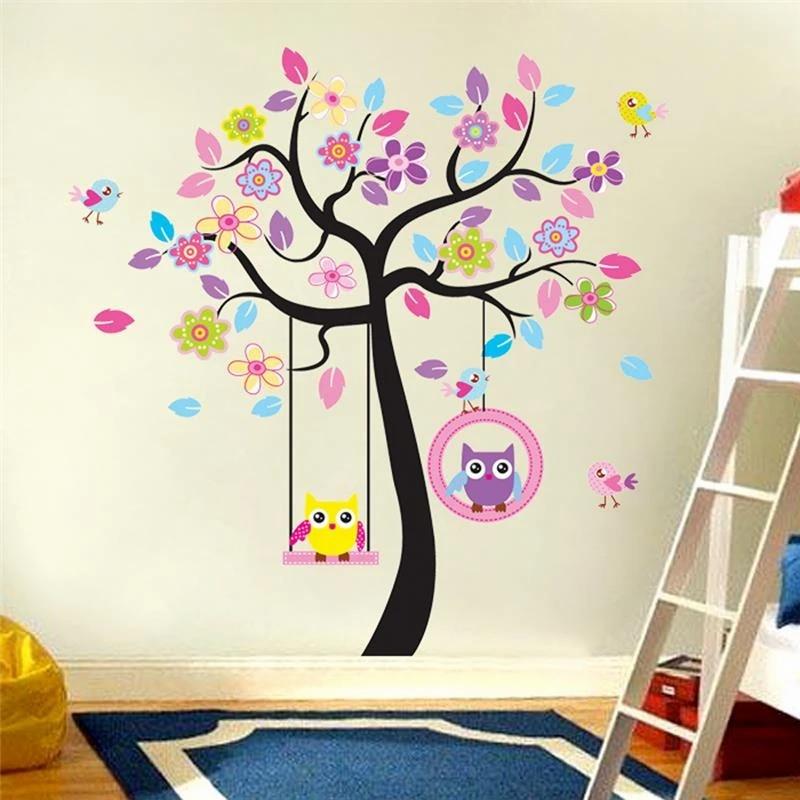 Owls Cartoon Pattern Wallpaper Woven Self-Adhesive Wall Art Mural Nursery T37
