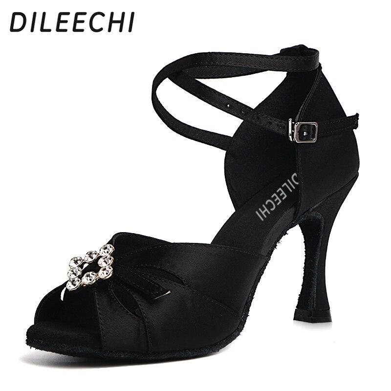 DILEECHI Latin Dance Shoes Black Satin Big Rhinestones Women Patry Salsa Square Ballroom Dancing Shoes Heel 8.5cm Soft Outsole
